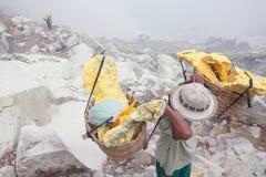 Worker,Extracting sulphur inside Kawah Ijen crater Royalty Free Stock Photo