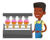 Worker of factory producing ice-cream. Royalty Free Stock Photography