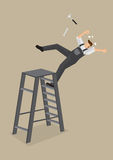 Worker Falling from Ladder Vector Illustration. Blue-collar worker loses balance and falls backward from ladder with tools flying off. Vector cartoon Stock Photos