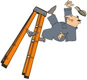 Worker falling off a stepladder Stock Images