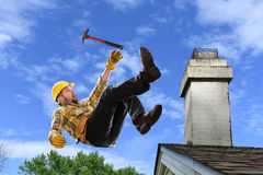 Worker Falling from Roof Royalty Free Stock Photo