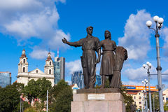Worker and farm woman statues. VILNIUS, LITHUANIA - SEPTEMBER 24: Worker and farm woman statues on the Green Bridge on September 24, 2014 in Vilnius, Lithuania Stock Photography