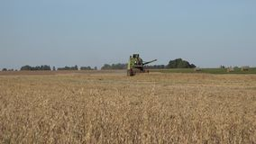 Worker farmer work with harvester combine in big oat field. 4K. BIRZAI, LITHUANIA - AUGUST 18, 2015: zoom out of worker farmer work with harvester combine in big stock video footage