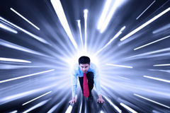 Worker and fast motion blur background Royalty Free Stock Images