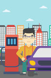 Worker filling up fuel into car. An asian man filling up fuel into the car. Man standing at the gas station and refueling a car. Vector flat design illustration Royalty Free Stock Photos