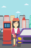 Worker filling up fuel into car. An asian woman filling up fuel into the car. Woman standing at the gas station and refueling a car. Vector flat design Royalty Free Stock Photo