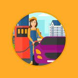 Worker filling up fuel into car. A female worker filling up fuel into the car. Worker in workwear at the gas station. Gas station worker refueling a car. Vector Stock Image