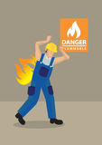 Worker in Fire Accident at Workplace Cartoon Vector Illustration Stock Image