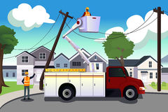Worker fixing broken power lines. A vector illustration of worker fixing broken power lines Royalty Free Stock Photography