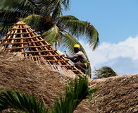 Worker Fixing Thatched Roof Building Royalty Free Stock Photography