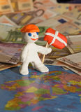 Worker with flag   - Denmark Stock Image