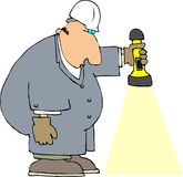 Worker With A Flashlight Stock Photos