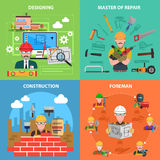 Worker Flat Set Royalty Free Stock Photography
