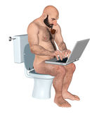 Worker Focusing Hard On Work In Toilet Illustration. A worker working in a state of total immersion on his laptop Stock Photography