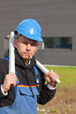 Worker with foldable ruler Stock Image