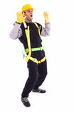 Worker in full protective clothing screaming Stock Images
