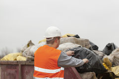 Worker with garbage and debris bags Stock Photography