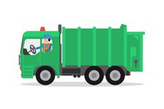 The worker on the garbage truck Stock Photo