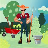 Worker in a garden. Man is working in a farm. Gardener on a nature. Farmer with a pitchfork Cartoon vector illustration. Farmer with a pitchfork. Man is working Stock Photos