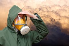 Worker in gas mask Royalty Free Stock Photos