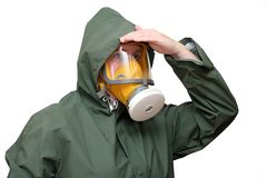 Worker in gas mask Stock Photo