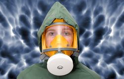 Worker in gas mask. Royalty Free Stock Photography
