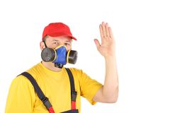 Worker in gas mask say hi. Royalty Free Stock Photos