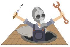 Worker in the gas mask working in the sewer manhole illustration isolated. Worker in the gas mask with a spanner and screwdriver in the hands appears out from Royalty Free Stock Photos
