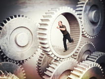 Worker on gear stock image