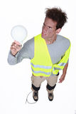 Worker getting an electric shock Royalty Free Stock Photo