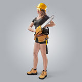 Worker girl in a helmet with a chain saw Stock Photos