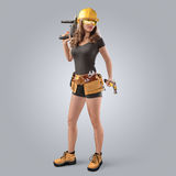 Worker girl in a helmet with drill and hammer Royalty Free Stock Photo