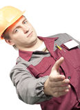 Worker giving a hand Royalty Free Stock Image