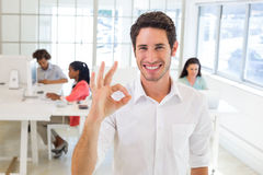 Worker giving an OK gesture Royalty Free Stock Photography