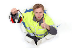 Worker giving the thumbs Royalty Free Stock Photos