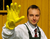 Worker with glove. Stock Photos
