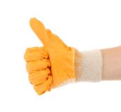 Worker glove thumbs up. Royalty Free Stock Photography
