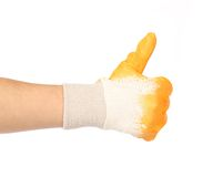 Worker glove thumbs up. Royalty Free Stock Images