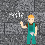 Worker at the granite wall. Stock Image