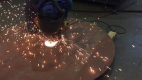 Worker grinding. stock video