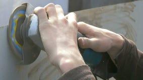 Worker grinding steel. stock video footage