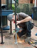 Worker Grinding Weld Royalty Free Stock Photo