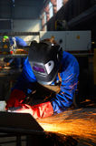 Worker grinding/welding Royalty Free Stock Photo