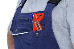 Worker with gripper in his pocket Royalty Free Stock Photography