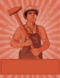 Worker  and a hammer. Worker holding  a hammer poster for Labor Day Stock Images