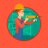 Worker with hammer drill. Stock Images