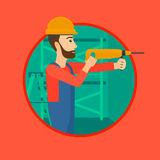 Worker with hammer drill. Royalty Free Stock Photography