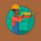 Worker with hammer drill vector illustration. Royalty Free Stock Images