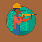 Worker with hammer drill vector illustration. Royalty Free Stock Photos