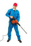 Worker with a hammer drill on white background Stock Image